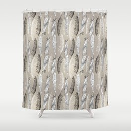 Beautiful graphic bird feathers black white Shower Curtain