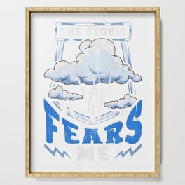 The Storm Fears Me Funny Severe Weather Tornado Serving Tray