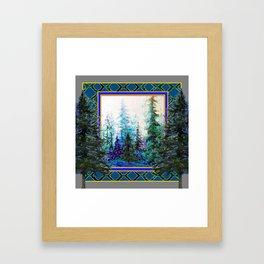 PINE TREES BLUE FOREST  LANDSCAPE TEAL PATTERN Framed Art Print