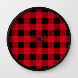 Red and Black Buffalo Check Wall Clock
