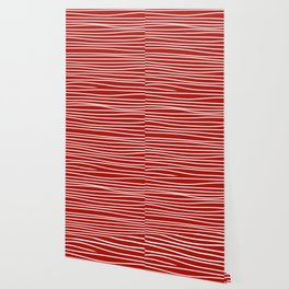 Red & White Maritime Hand Drawn Stripes - Mix & Match with Simplicity of Life Wallpaper