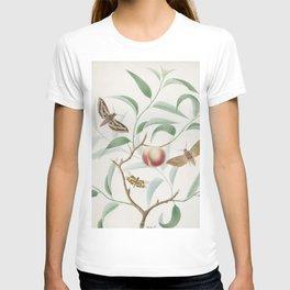 Vintage Botanical Print - Peach and Moths T-shirt