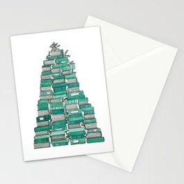 Christmas Book Tree: White Background Stationery Cards