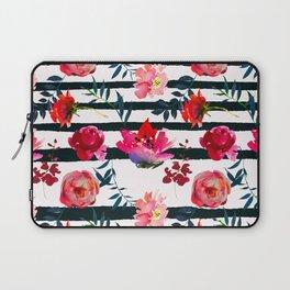 Black white pink floral watercolor stripes pattern Laptop Sleeve