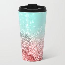 Summer Vibes Glitter #5 #coral #mint #shiny #decor #art #society6 Travel Mug