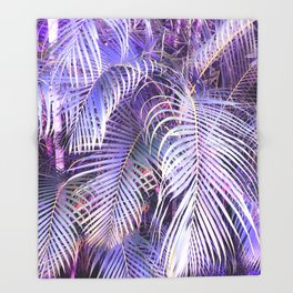 Feather palm leaf - iridescent Throw Blanket