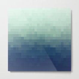Gradient Pixel Aqua Metal Print