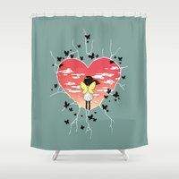 butterflies Shower Curtains featuring Butterflies by Freeminds