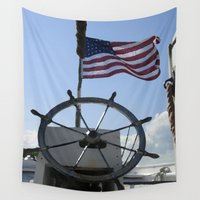 patriotic Wall Tapestries featuring Patriotic Harbor Ship by Sturm Exhibits