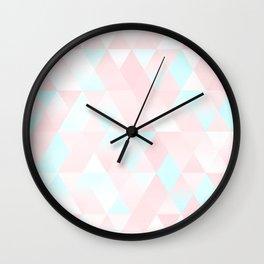 Pastel Millennial Pink Teal Triangle Ombre Geometric Cute Pattern Wall Clock