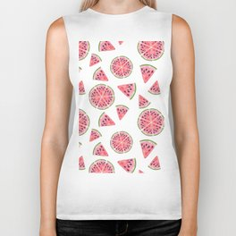 Modern pink green watercolor hand painted watermelon pattern Biker Tank