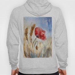 Red poppy flower against the blue sky. Watercolor illustration of red poppy flower. Hoody