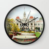 vietnam Wall Clocks featuring saigon-vietnam by nguyenkhacthanh