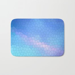 Blue mosaic stained glass with pink highlights Bath Mat