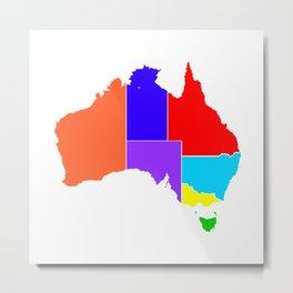 Australia States In Colour Silhouette Metal Print