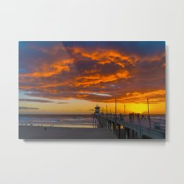 Red Clouds Over the Pier 1 Metal Print