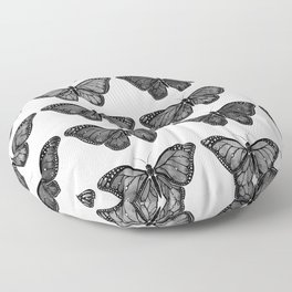 Monarch Butterfly - Black and White Floor Pillow