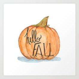 Hello fall pumpkin Art Print