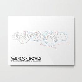 Vail, CO - Back Bowls - Minimalist Trail Art Metal Print