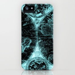 Antique World Map Turquoise Teal Blue Green iPhone Case