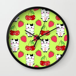 Cute funny sweet adorable happy baby cows, little cherries and red ripe summer strawberries cartoon fantasy lime green pattern design Wall Clock
