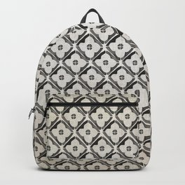 Moroccan Boho Black & White Pattern Backpack
