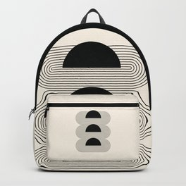 Geometric Lines in Black and Beige 16 (Sunrise and Sunset Abstraction) Backpack
