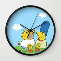 simpson Wall Clocks featuring The Peppa Simpson Family by Carlos Paboudjian