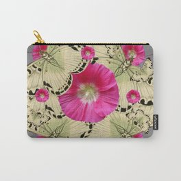 BLACK PATTERN BUTTERFLIES PINK HOLLYHOCKS ART Carry-All Pouch