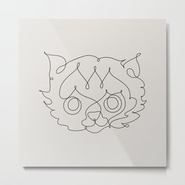 One Line Cat Metal Print