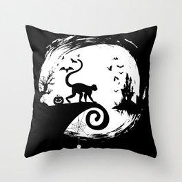 Spider Monkey Halloween Costume Moon Silhouette Throw Pillow