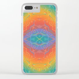 Colorful Liquid Holographic Pattern Abstract Rainbow Waves Clear iPhone Case