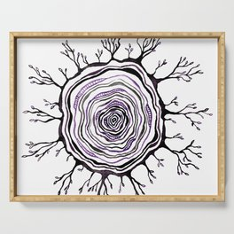 Watercolor Tree Ring, Purple Serving Tray