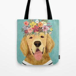 Golden Retriever Dog with Floral Crown Art Print – Funny Decoration Gift – Cute Room Decor – Poster Tote Bag
