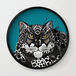 snow leopard teal Wall Clock