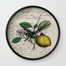 vintage Mediterranean summer fruit orchard citrus blossom yellow lemon Wall Clock