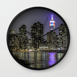 Empire State, red white and blue Wall Clock