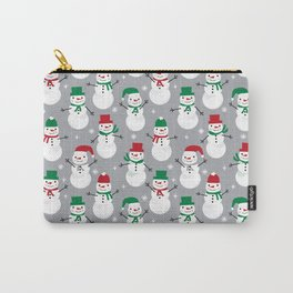 Snowman festive family fun snow day memories winter themed art pattern illustration Carry-All Pouch