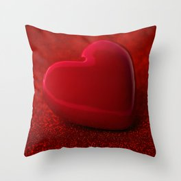The red Heart shape on red abstract light glitter background Throw Pillow