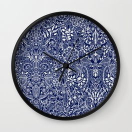 Detailed Floral Pattern in White on Navy Wall Clock
