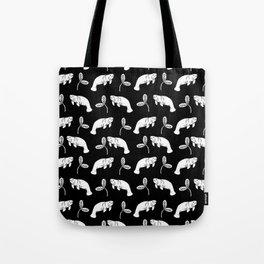 Manatee linocut black and white minimal pattern nature art manatees Tote Bag