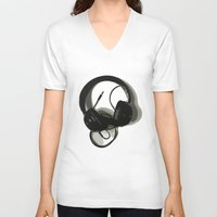 headphones V-neck T-shirts featuring Headphones by GoAti