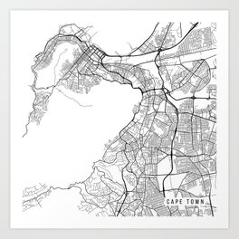 Cape Town Map, South Africa - Black and White Art Print