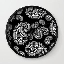 Invert paisley pattern Wall Clock