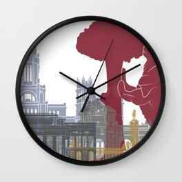 Madrid skyline poster Wall Clock