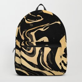 Liquid black and gold marble. Trendy golden ink marbling texture. Suminagashi art. Backpack