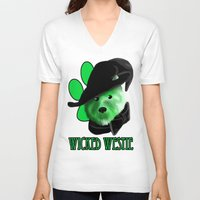 westie V-neck T-shirts featuring Wicked Westie of the West by Kristen Hodge