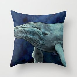 Humpback Whale Illustration Throw Pillow