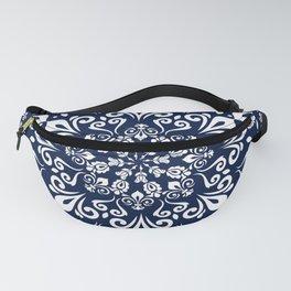 Oriental Damask white on blue #3 Fanny Pack