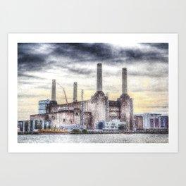 Battersea Power-Station London Snow Art Print